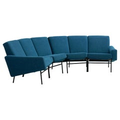 Rare Vintage Two-Part Blue Upholstered Model L-10 Curved Sofa by Pierre Guariche