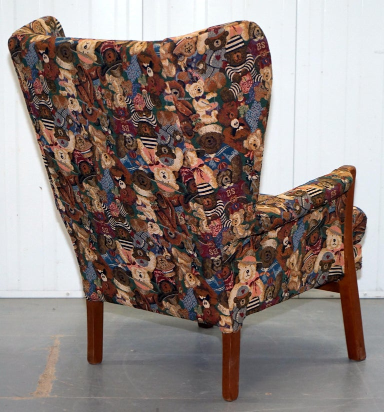 Rare Vintage Wingback Armchair with Teddy Bear Upholstery ...