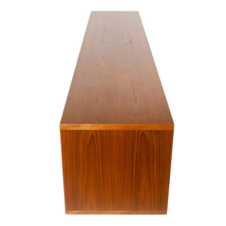 Danish Rare Wall Mount Teak Credenza by Hans J. Wegner for Johannes Hansen Made in 1952 For Sale