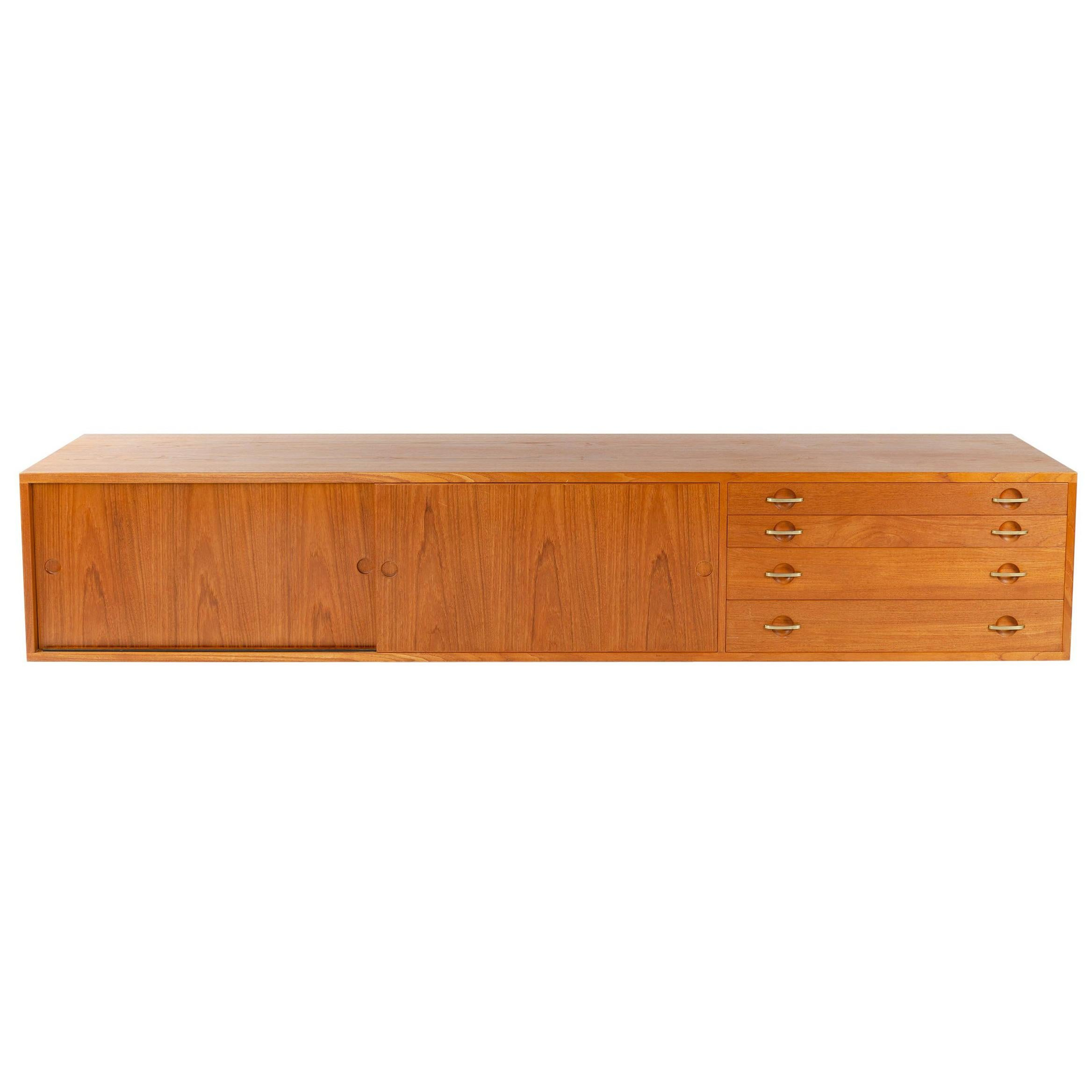 Rare Wall Mount Teak Credenza by Hans J. Wegner for Johannes Hansen Made in 1952