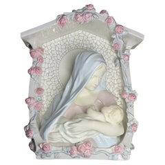 Rare Wall Religious Porcelain Niche of Virgin Mary Bust and Baby Jesus