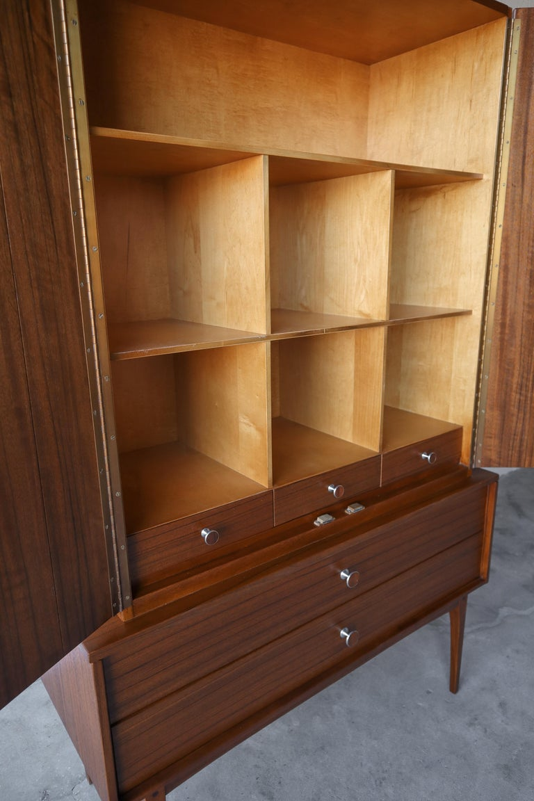 Rare Walnut and Rosewood Mid Century Armoire Dresser by Lane In Excellent Condition For Sale In Las Vegas, NV