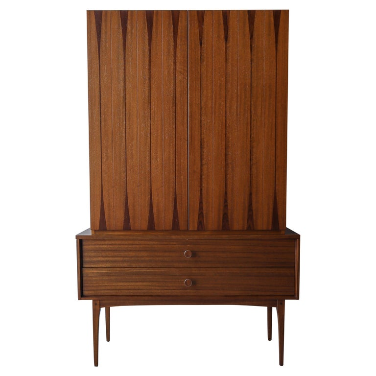 Rare Walnut and Rosewood Mid Century Armoire Dresser by Lane For Sale