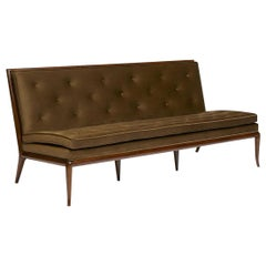 Rare Walnut and Velvet Sofa Designed by T.H. Robsjohn-Gibbings for Widdicomb