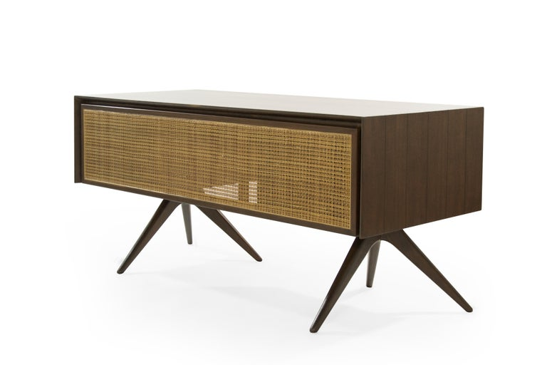 Impressive and rare walnut desk designed by Vladimir Kagan for Grosfeld House, NY, circa 1950s.