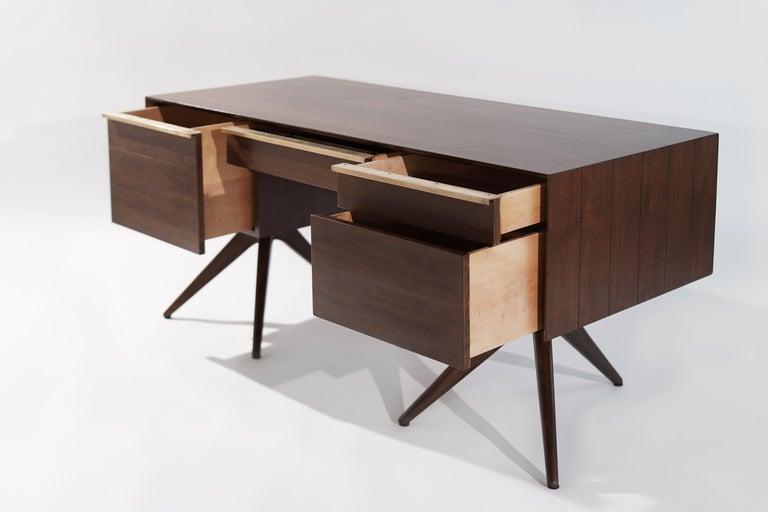 Brass Rare Walnut Desk by Vladimir Kagan for Grosfeld House, circa 1950s For Sale