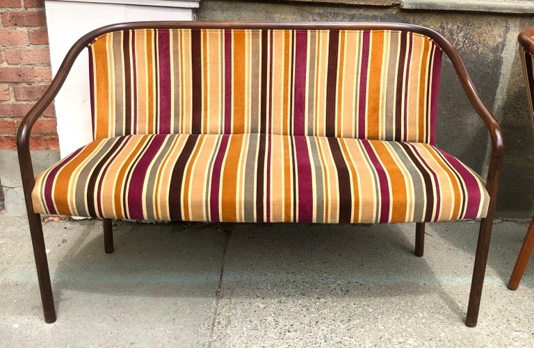Mid-Century Modern Rare Ward Bennett Settee and Side Chair in Vintage Fabric For Sale