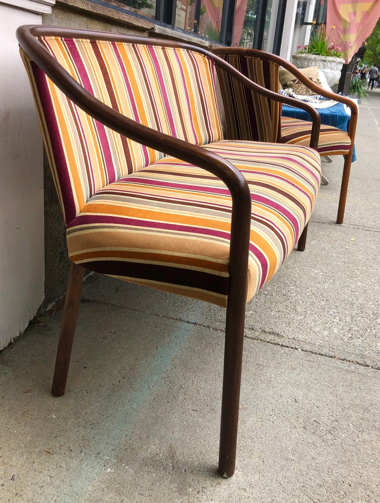 American Rare Ward Bennett Settee and Side Chair in Vintage Fabric For Sale