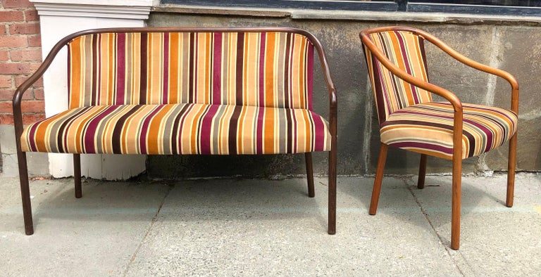 Rare Ward Bennett Settee and Side Chair in Vintage Fabric For Sale 1