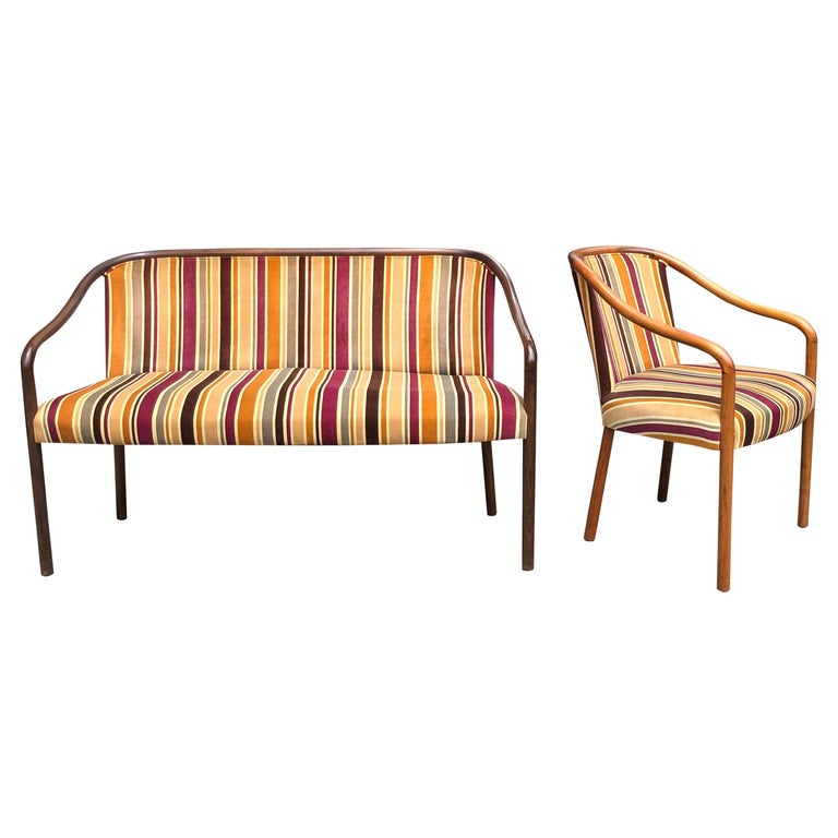 Rare Ward Bennett Settee and Side Chair in Vintage Fabric For Sale