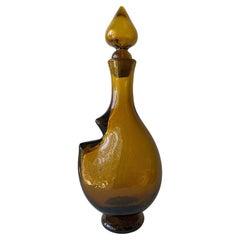 Rare Wayne Husted for Blenko Notched Decanter Vase