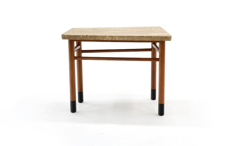 Mid-Century Modern Rare Wedge Side Table with Travertine Top by Edward Wormley for Dunbar For Sale