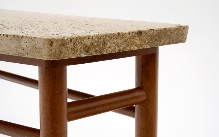 Leather Rare Wedge Side Table with Travertine Top by Edward Wormley for Dunbar For Sale