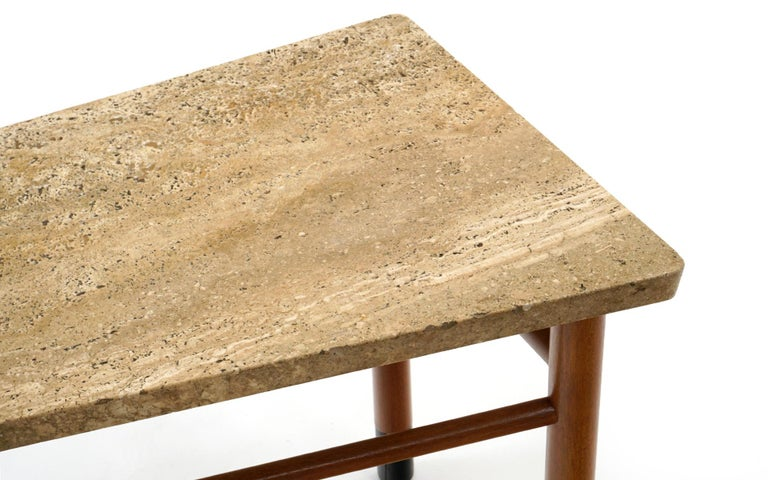 Rare Wedge Side Table with Travertine Top by Edward Wormley for Dunbar For Sale 1