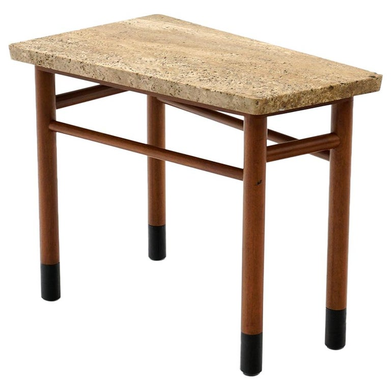 Rare Wedge Side Table with Travertine Top by Edward Wormley for Dunbar For Sale