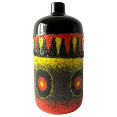 Rare West German Red Black Yellow Fat Lava Large Scale Vase
