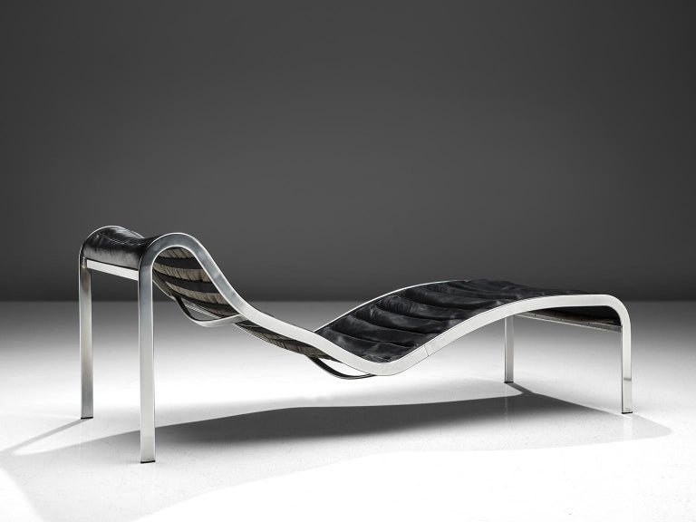 Mid-20th Century Rare 'Whist' Chaise Longue in Black Leather by Olivier Mourgue