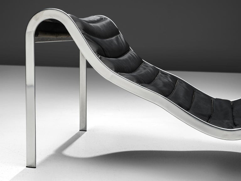 Steel Rare 'Whist' Chaise Longue in Black Leather by Olivier Mourgue