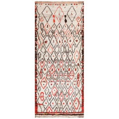 Rare White and Red Vintage Moroccan Carpet. Size: 4 ft 5 in x 10 ft 9 in