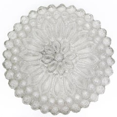 Rare White Crystal Glass Ceiling or Wall Flush Mount, 1960s