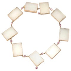 Rare White Jade Geometric Necklace with Pink Sapphires in 14 Karat Gold