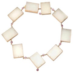 Rare White Jade Geometric Shaped Necklace with Pink Sapphires in 14 Karat Gold