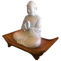 Rare White Porcelain / Blanc De Chine Buddha on Pedestal by Fitz and Floyd