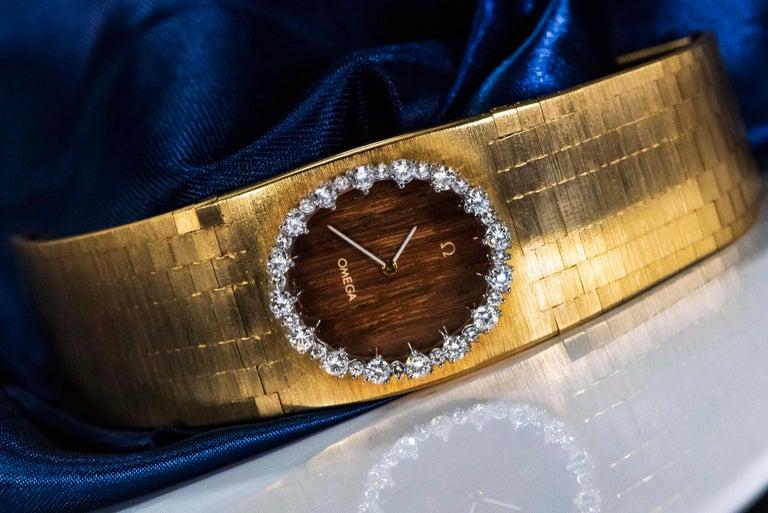 Rare Wide 1970s Omega Diamond Set Wood Dial 18 Karat Yellow Gold Bracelet Watch For Sale 6