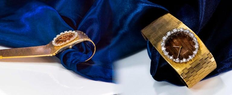 Rare Wide 1970s Omega Diamond Set Wood Dial 18 Karat Yellow Gold Bracelet Watch For Sale 1
