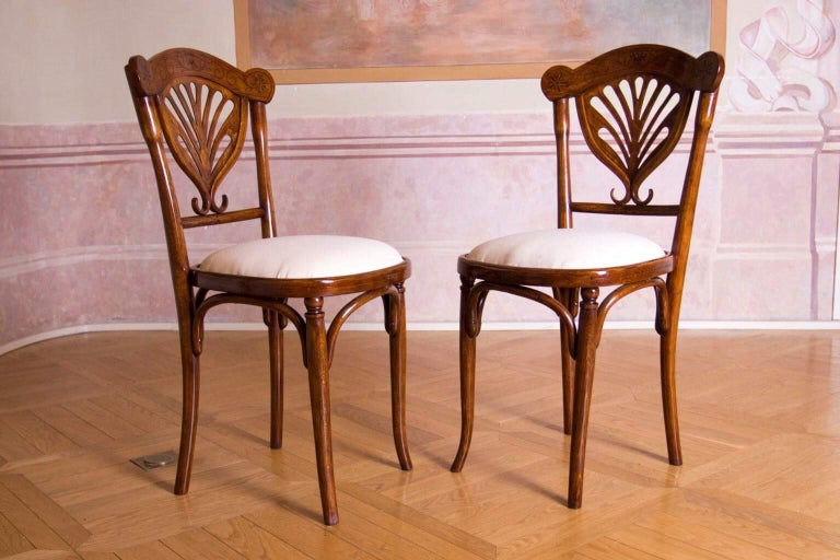 Originally restored pair of chairs from Wien J&J Kohn is the maker. Treated with selackpolitur new upholstery.