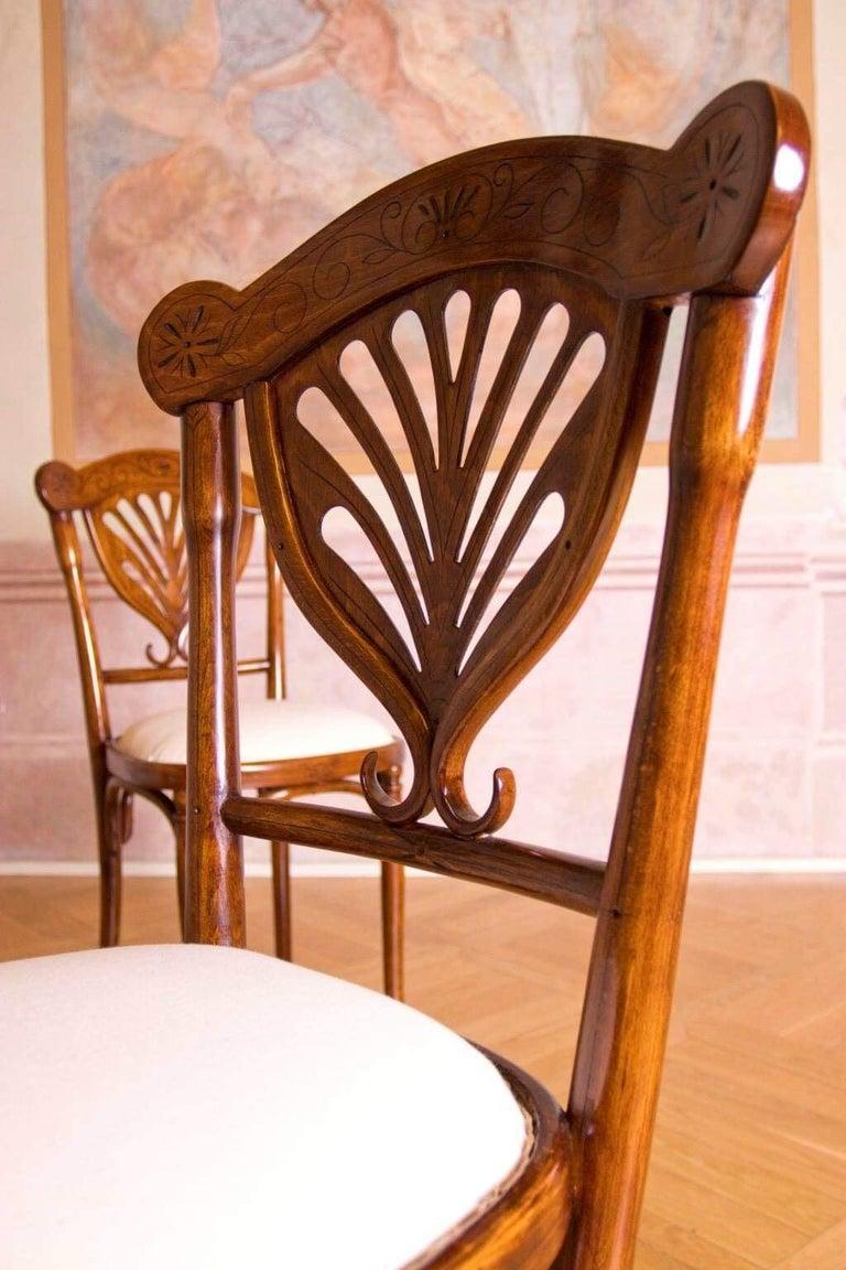 Art Nouveau Rare Wien J&J Kohn Pair of Chairs For Sale