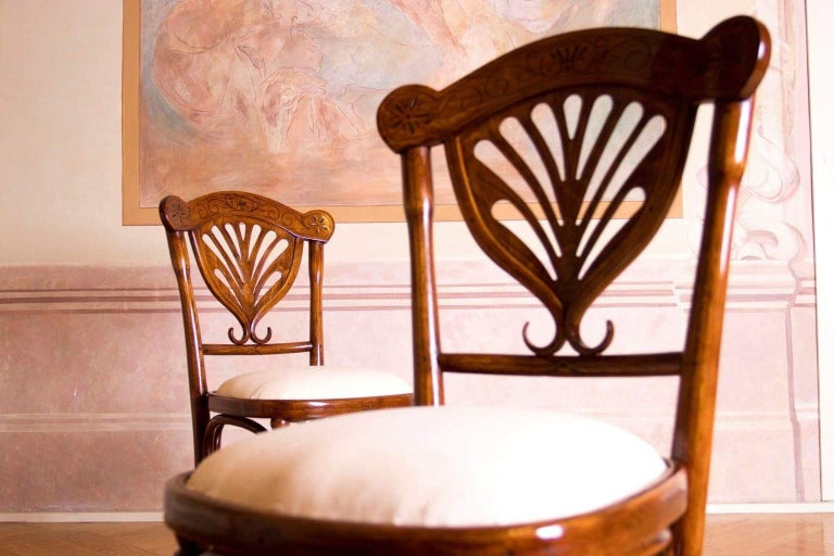 Late 19th Century Rare Wien J&J Kohn Pair of Chairs For Sale