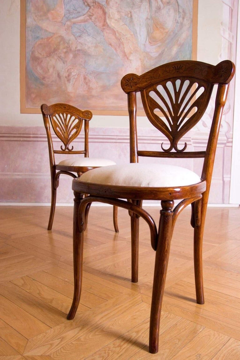 Rare Wien J&J Kohn Pair of Chairs For Sale 1