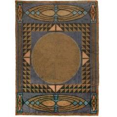 Rare Wiener Werkstätte Carpet Designed by Otto Prutscher