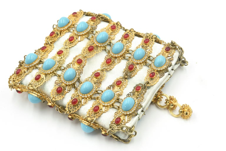 Rare William De Lillo Jeweled Gilt Metal & Leather Evening Bag For Sale 1