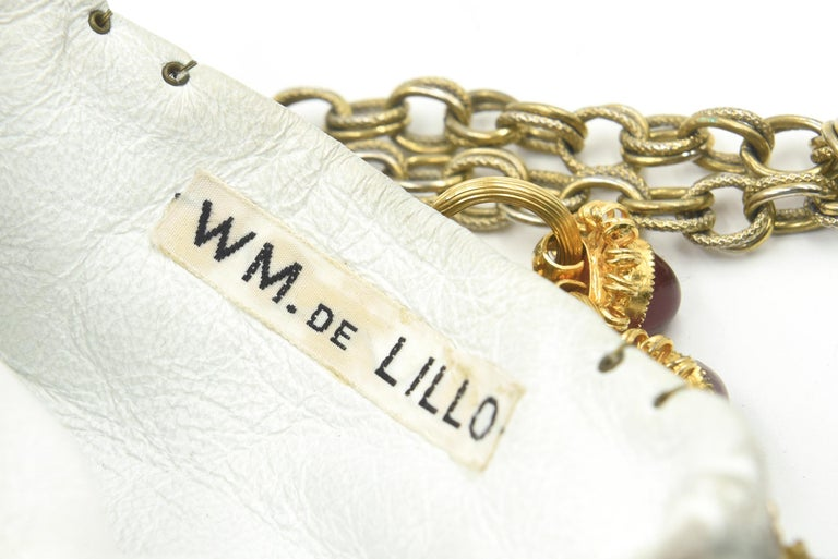 Rare William De Lillo Jeweled Gilt Metal & Leather Evening Bag For Sale 2