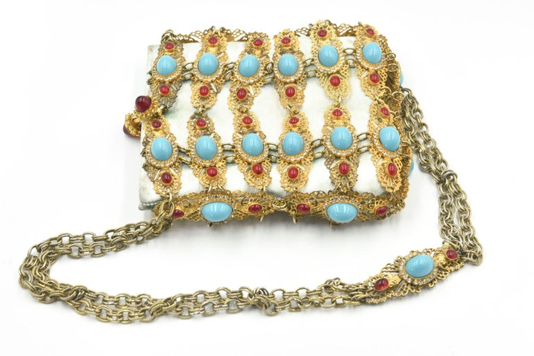 Rare William De Lillo Jeweled Gilt Metal & Leather Evening Bag For Sale 3