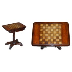 Rare William IV Hardwood Occasional Table with Brown Leather Chess Games Top
