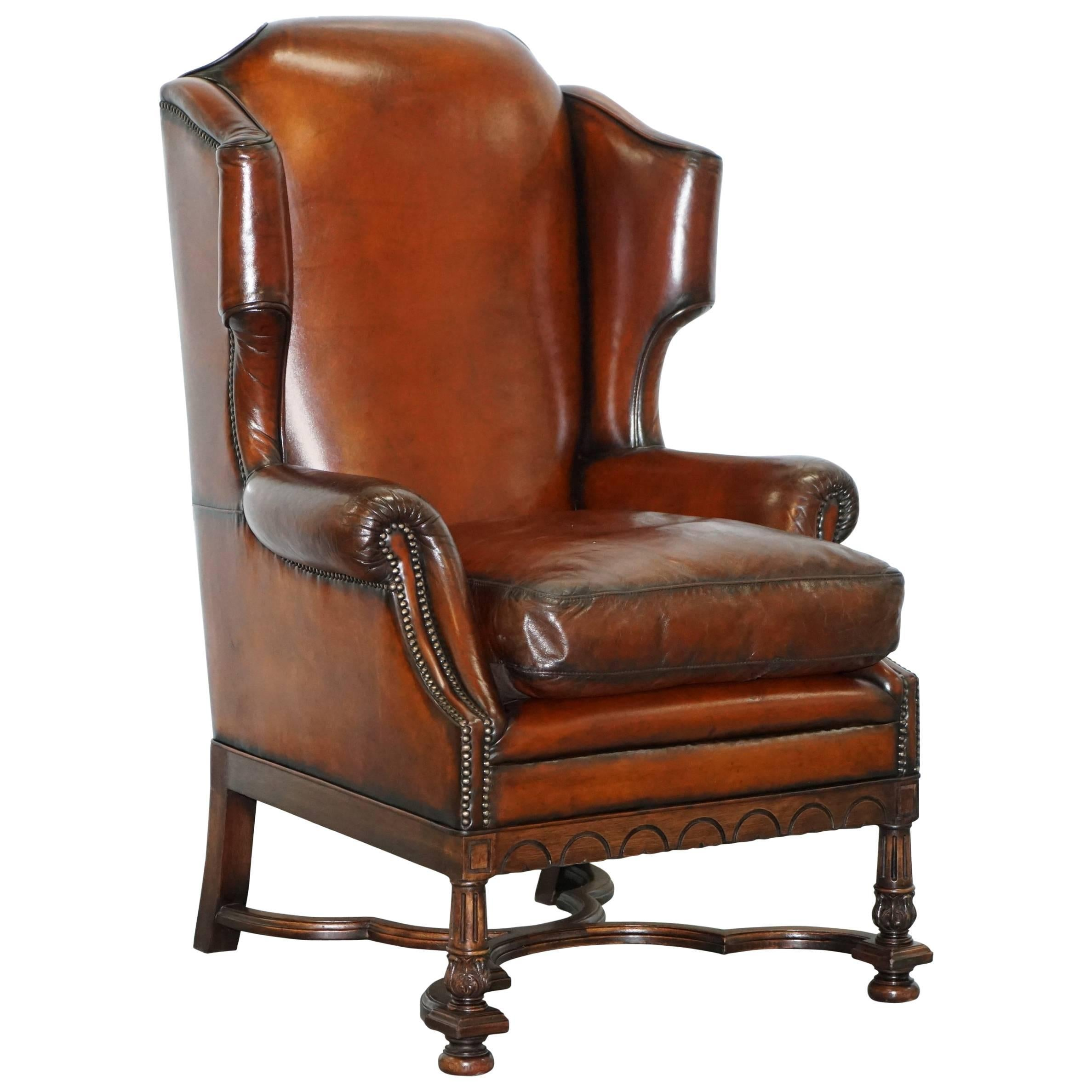 Rare William U0026 Mary Style Antique Victorian Wingback Brown Leather Armchair