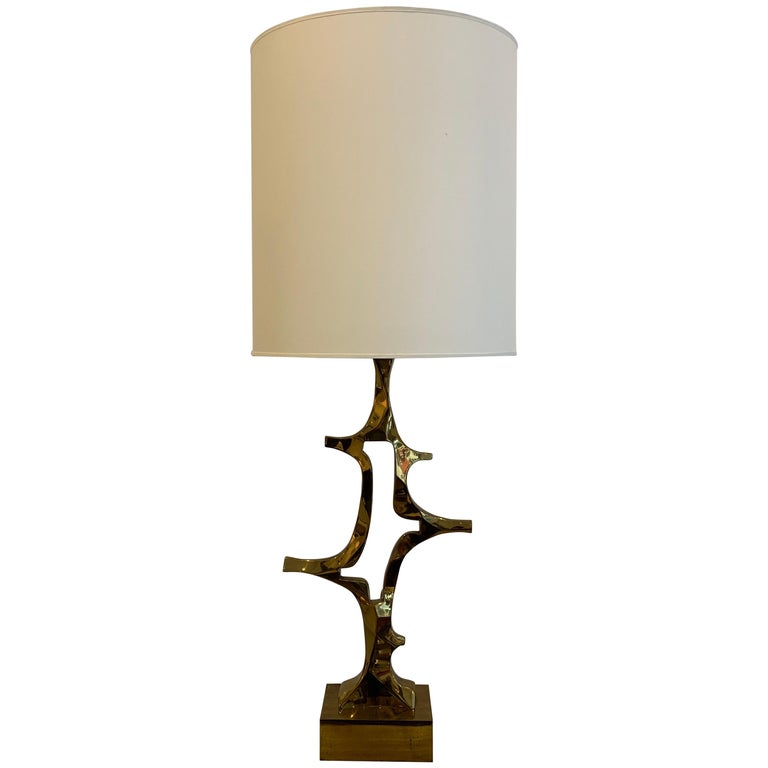 Rare Willy Daro Brass Table Lamp, 1970s For Sale