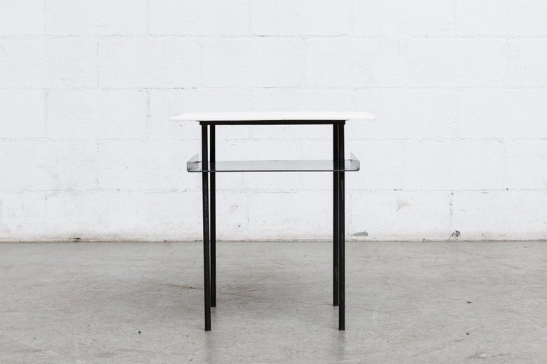 Rare Wim Rietveld for Auping Small Industrial Side Table In Good Condition For Sale In Los Angeles, CA