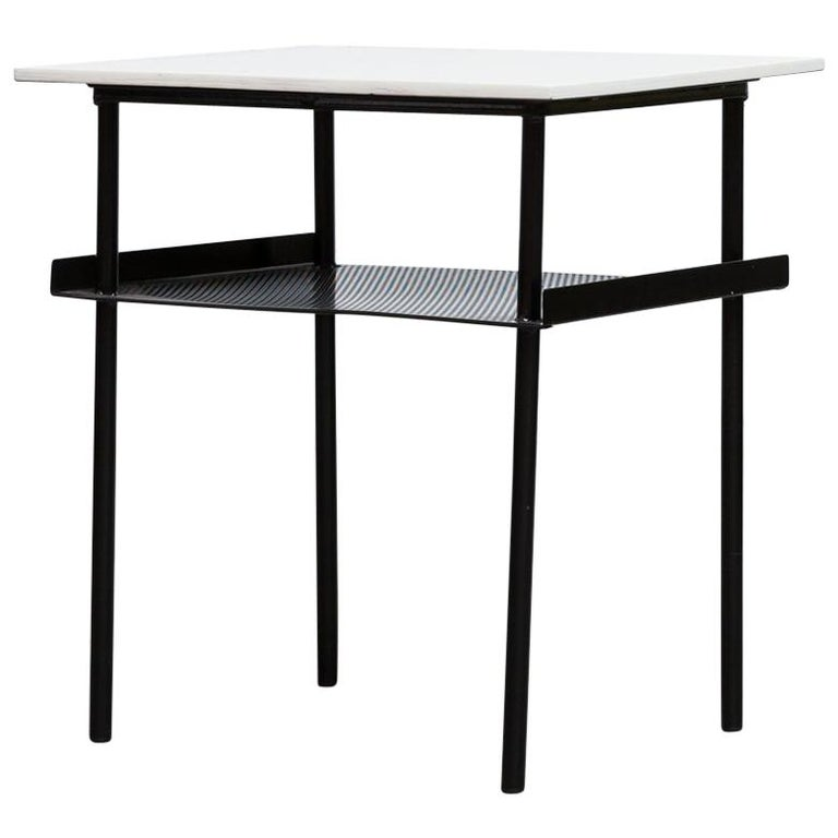 Rare Wim Rietveld for Auping Small Industrial Side Table For Sale