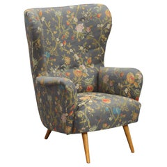 Rare Wingback Chair, Italian, 1950