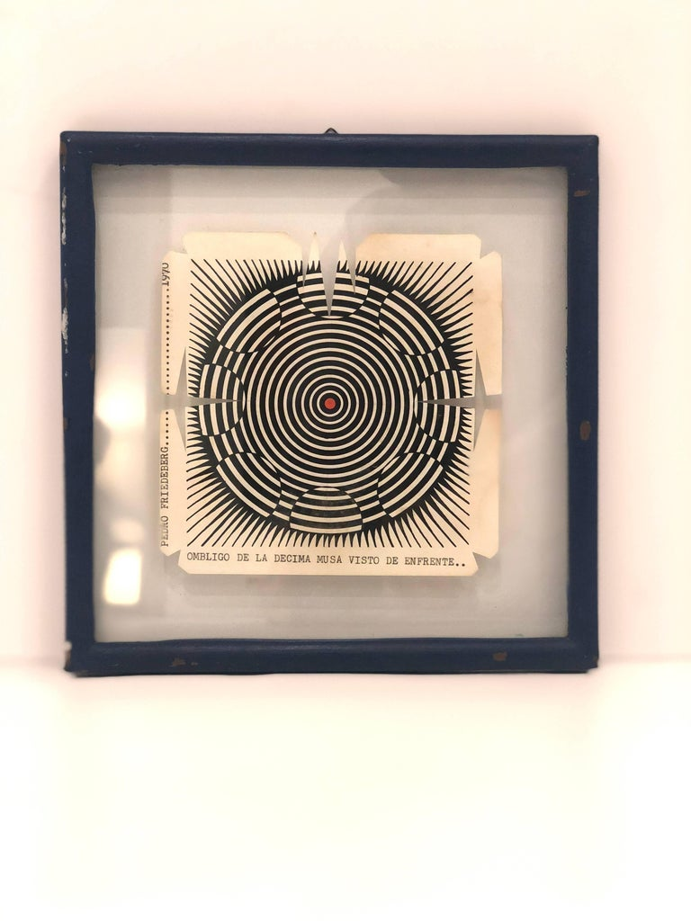 Mexican Rare Wood Block Cut by Pedro Friedeberg in Original Frame, 1970 For Sale