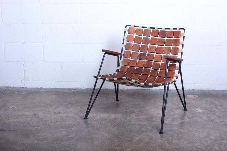 Rare Wood Block Lounge Chair by Maxwell Yellen, 1954 For Sale 8