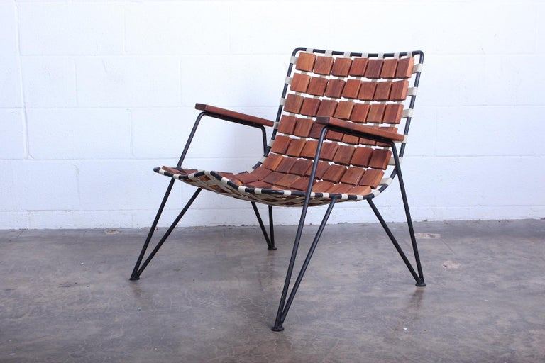 Rare Wood Block Lounge Chair by Maxwell Yellen, 1954 In Good Condition For Sale In Dallas, TX