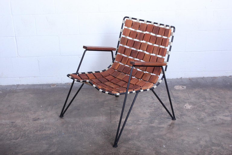 Mid-20th Century Rare Wood Block Lounge Chair by Maxwell Yellen, 1954 For Sale