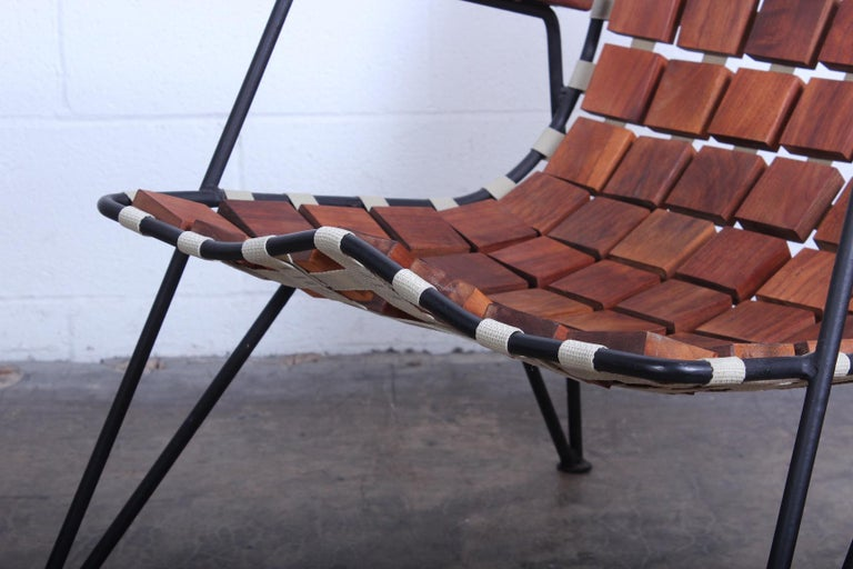 Iron Rare Wood Block Lounge Chair by Maxwell Yellen, 1954 For Sale