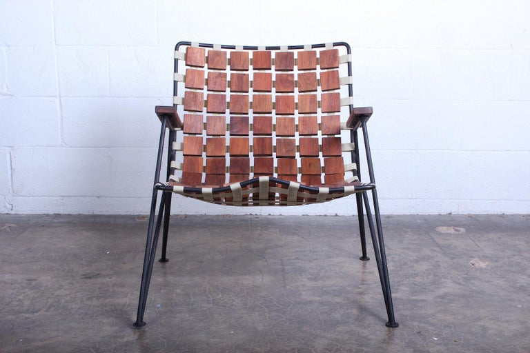 Rare Wood Block Lounge Chair by Maxwell Yellen, 1954 For Sale 4