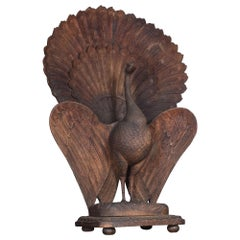 Rare Wood Figure of a Peacock in Display